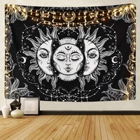 White Black Sun Moon Mandala Tapestry Wall Hanging Celestial Wall Tapestry Hippie Wall Carpets Dorm Decor Psychedelic Tapestry|Decorative Tapestries| |  -