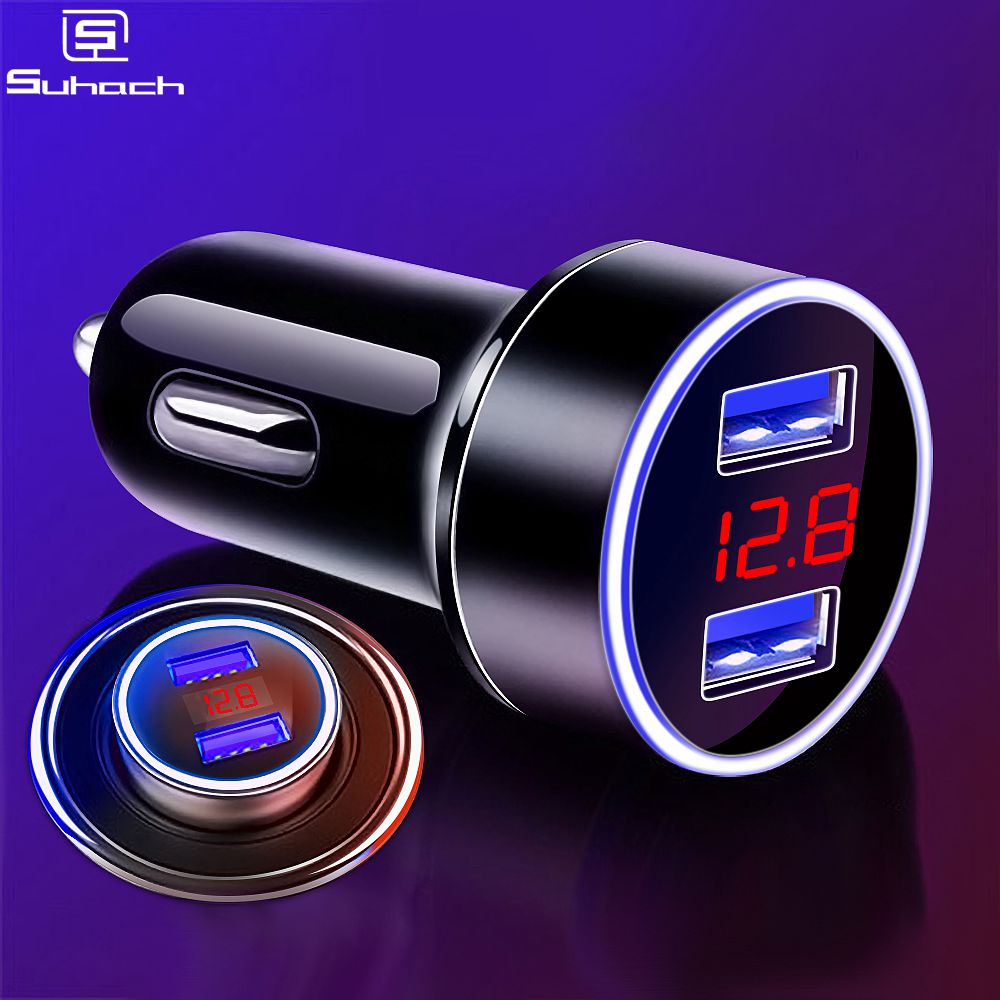 Suhach Dual USB Car Charger Adapter 3.1A Digital LED Voltage/Current Display Auto Vehicle Metal Charger For Smart Phone/Tablet