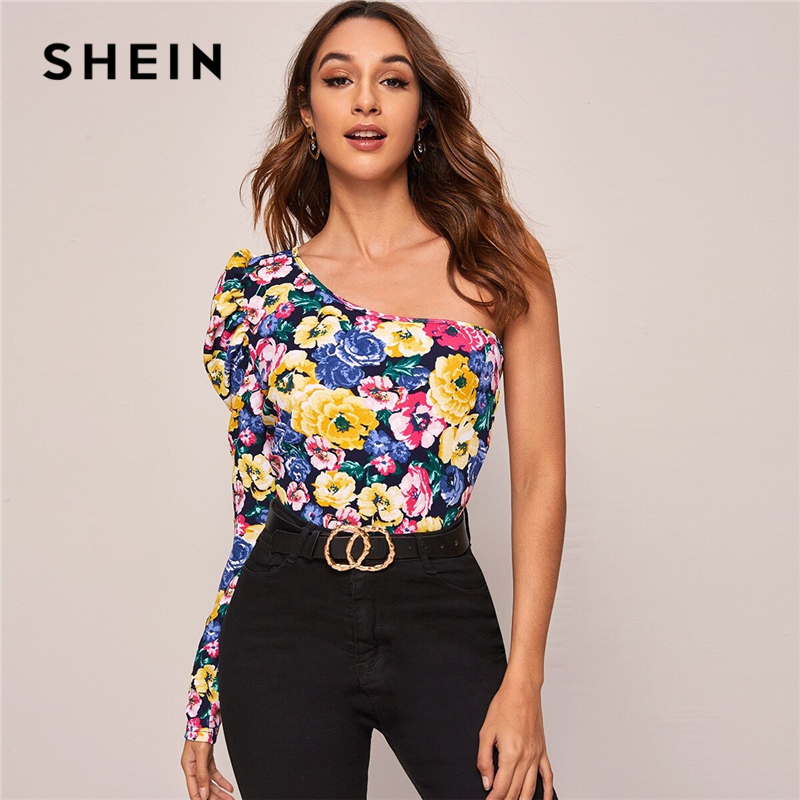 SHEIN Multicolor One Shoulder Gigot Sleeve Floral Print Top Women Spring Summer Slim Fitted Sexy Night out T-shirts 1