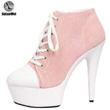 Botas de mezclilla jialuowei botas de tobillo de tacón fino plataforma de encaje up puntiagudos Zip Sexy moda de las señoras calzado de 15 CM de alto tacones