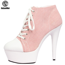 Jialuowei デニムアンクルブーツ薄型ヒールプラットフォームレースアップポインテッドトゥジッセクシーなファッション女性の靴 15 センチメートル高かかと