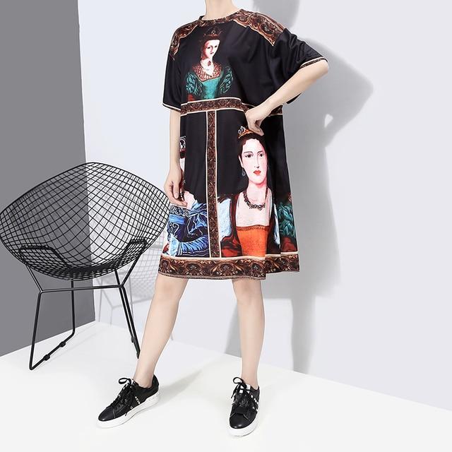 New 2020 Korean Style Women Summer Black Dress Printed Ladies Plus Size Casual Straight Midi Dress Cute Wear Robe Femme 6001 4