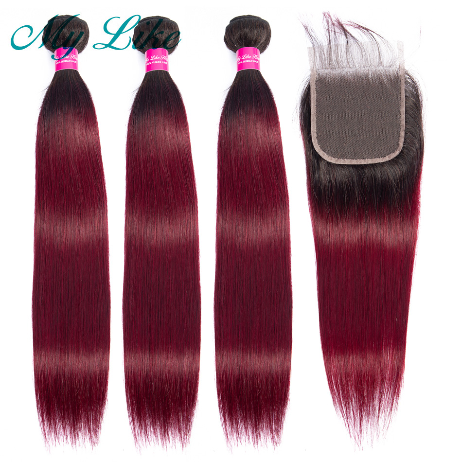 My Like Ombre Straight Hair Bundles With Closure 1b/99j Peruvian Hair Weave Ombre Bundles With Closure Non Remy Red Human Hair