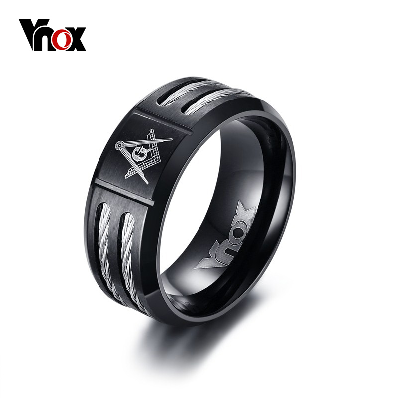 Vnox Vintage 9mm Masonic Ring Men Jewelry Black Stainless Steel With Wire Brother Gift