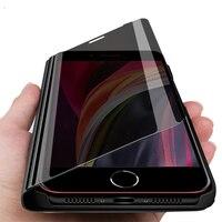 Fonda per il iphone se 2020 caso astuto di vibrazione dello specchio casi per il iphone 11 pro xs max xr x 7 8 6 6s plus magnete del basamento di libro di coque copertura