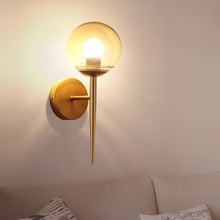 Nordic Glass Ball LED Wall Lamp Sconce Led Bedroom Wall Light Fixtures Home Deco Foyer Living Room Corridor Luminaire Suspension abajur wandlamp nordic modern glass lampshade round ball wall lamp for living room bedroom home deco g9 led wall light fixtures