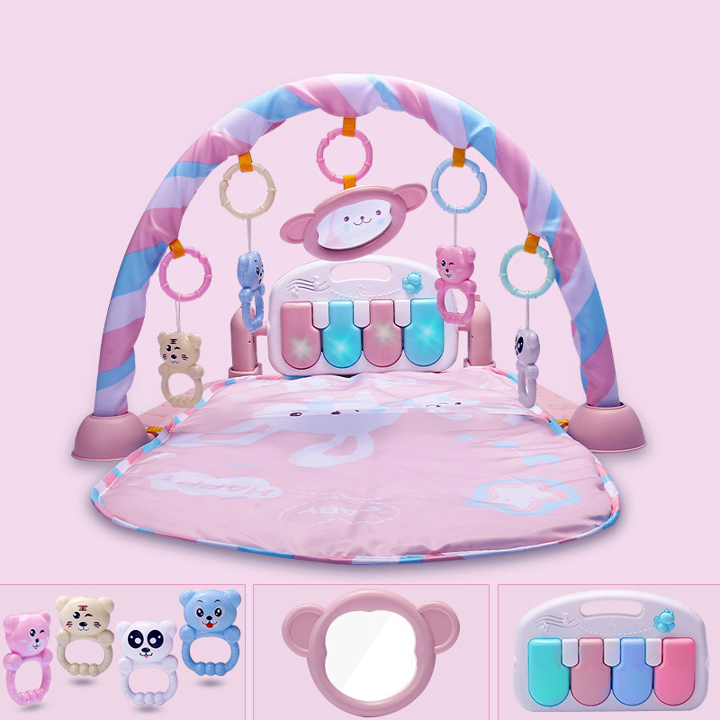 Baby Activity Gym Baby Music Play Mat Fitness Carpet Educational Rack Crib Toys Baby Rattle Toys With Bed Bell Fitness Mats