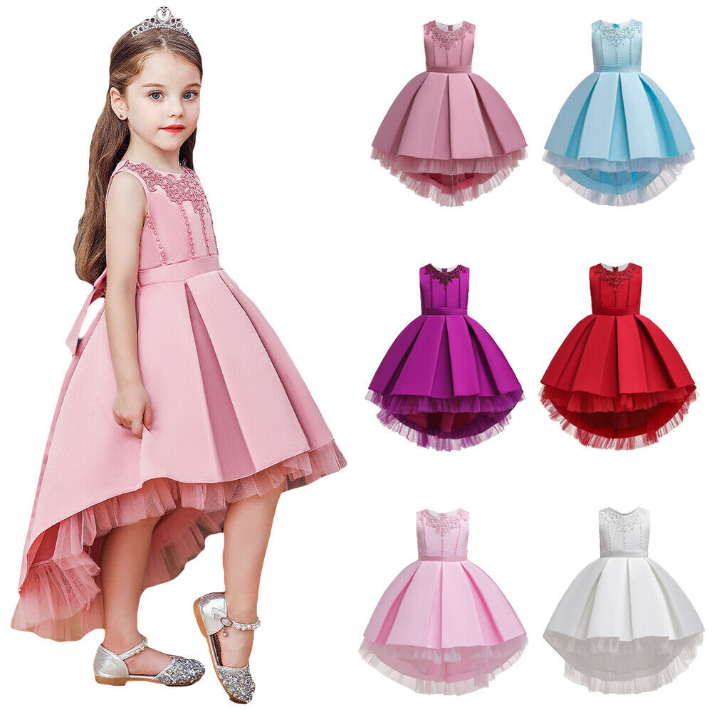 Flower Girl Dress Beaded Long Trailing Gown for Kids Party Wedding Bridesmaid