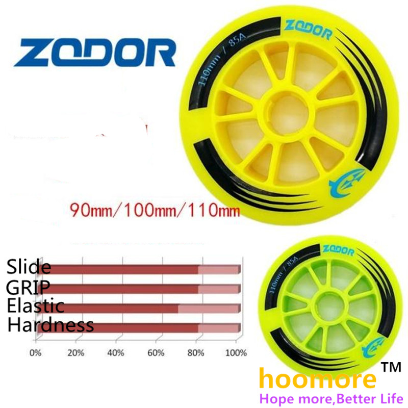 110mm 100mm 90mm 85A yellow green inline speed skates wheel ZODOR grip racing marathon wheels, 2 pieces per lot