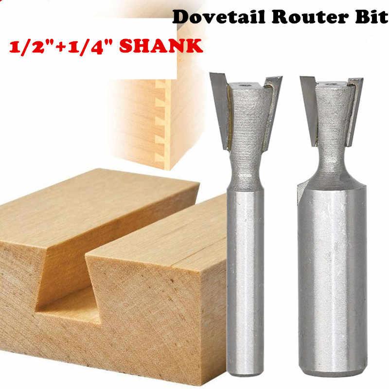 Jaskółczy ogon frezy 1pc1/4 1/2mm Shank przemysłowe jakości przyrząd do cięcia drewna jaskółczy ogon frezy do drewna wolframu grawerowanie narzędzia
