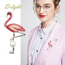 Top emalia flamingi perła broszki z motywem zwierząt Metal mężczyźni kobiety z kołnierzykiem z klapami sweter biżuteria Pin kobieta prezent codzienne akcesoria biurowe