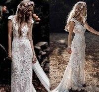 Vintage Country Garden Bohemian Wedding Dresses Cap Sleeves Lace Hippie Crochet Cotton Boho Mermaid Bridal Gowns