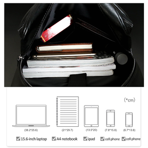 Image 4 - Fashion Laptop Men Backpack Large Capacity Travel Man Bag with USB Charging Backpacks PU Leather School College Waterproof