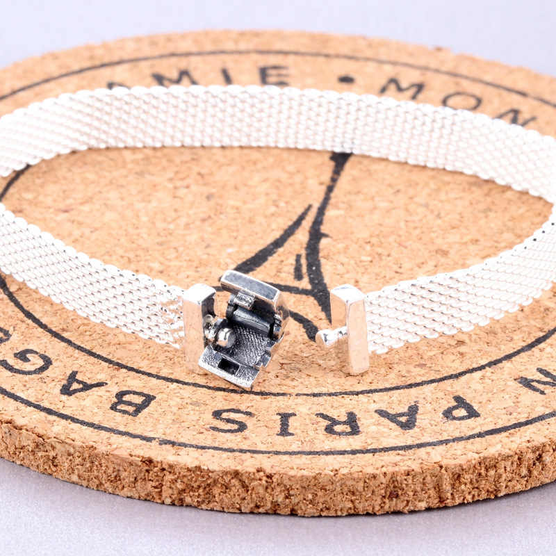 2019 Original 925 Sterling Silber Perle Charme Reflexion Mesh Armband Schlange Kette Grundlegende Armband Fit Pan Frauen DIY Schmuck