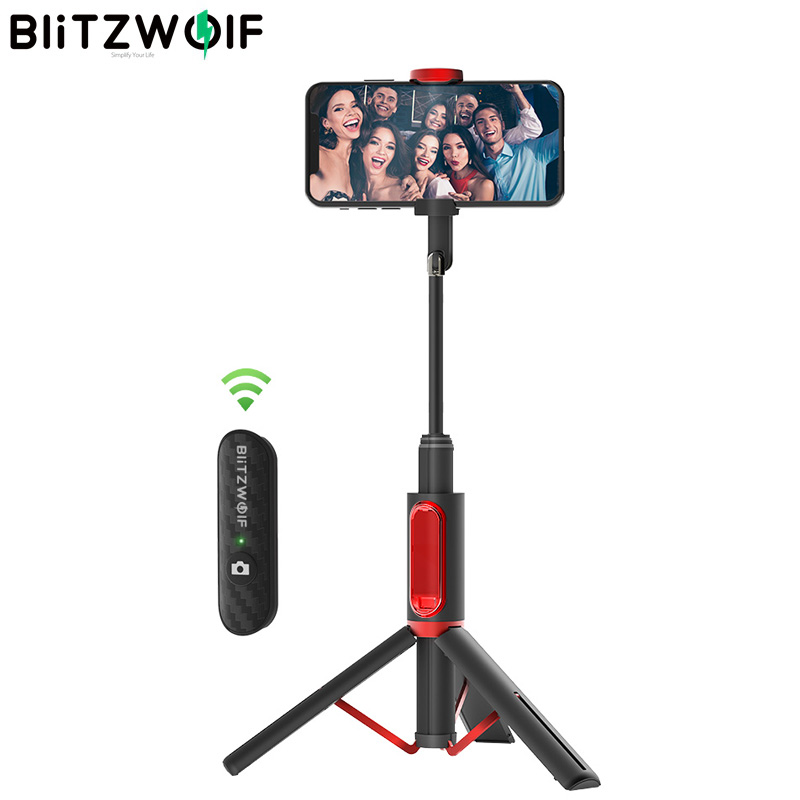 BlitzWolf BW-BS10 All In One Portátil Monopé bluetooth Selfie Vara com Tripé Retrátil Extensível Dobrável Transmissão Ao Vivo Das Mulheres Dos Homens de Viagem para o iphone 11X8 para Samsung Huawei Xiaomi Telefone