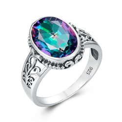 Silver 925 Jewellery Silver 925 Ring for Women With Oval Rainbow Fire Mystic Topaz Gemstone Silver Jewelry Fine Jewely Factory