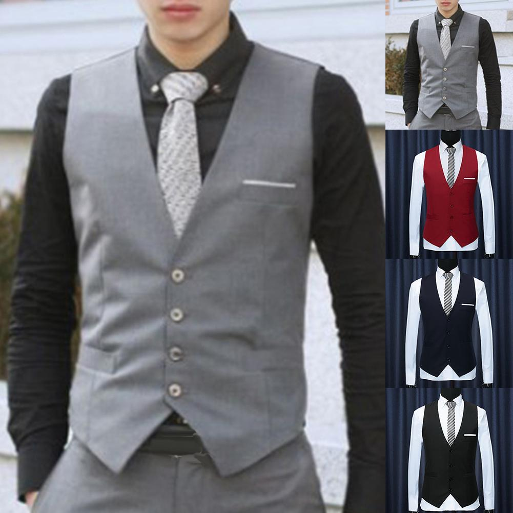 Men Formal Waistcoats Dress Suit Vest S-lim Three Button Polyester + Spandex Vest Men Casual Sleeveless British Autumnn Suit Ves