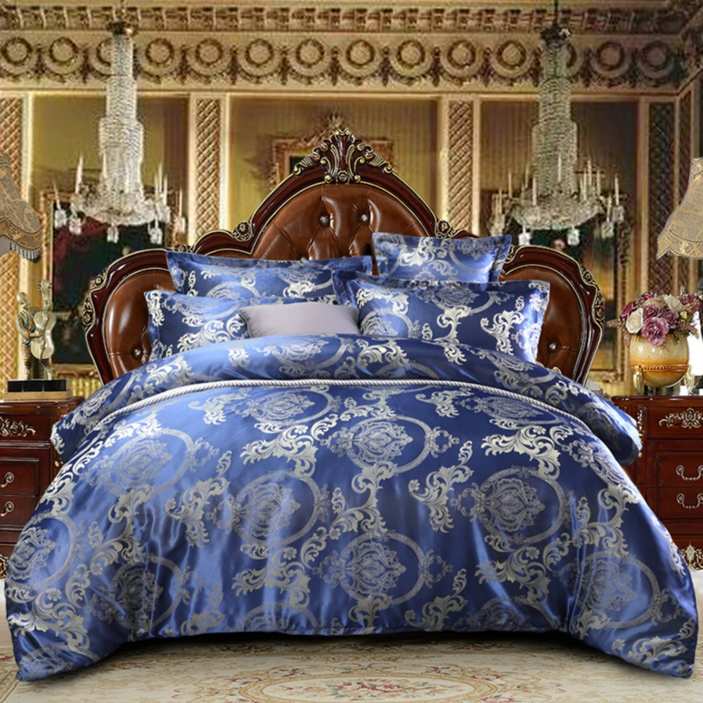 NEW Jacquard Bedlinen Queen King Size Duvet Cover Set Imitation Silk Cotton Bedding Sets Luxury Gold Dropshipping Sapphire Blue