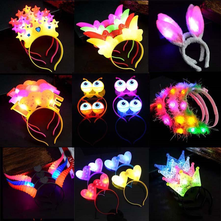 1pcs New LED Flashing Glow Headband Women Girls Crown Heart Light Up Hairbands Hair Accessories Glow Party Supplies