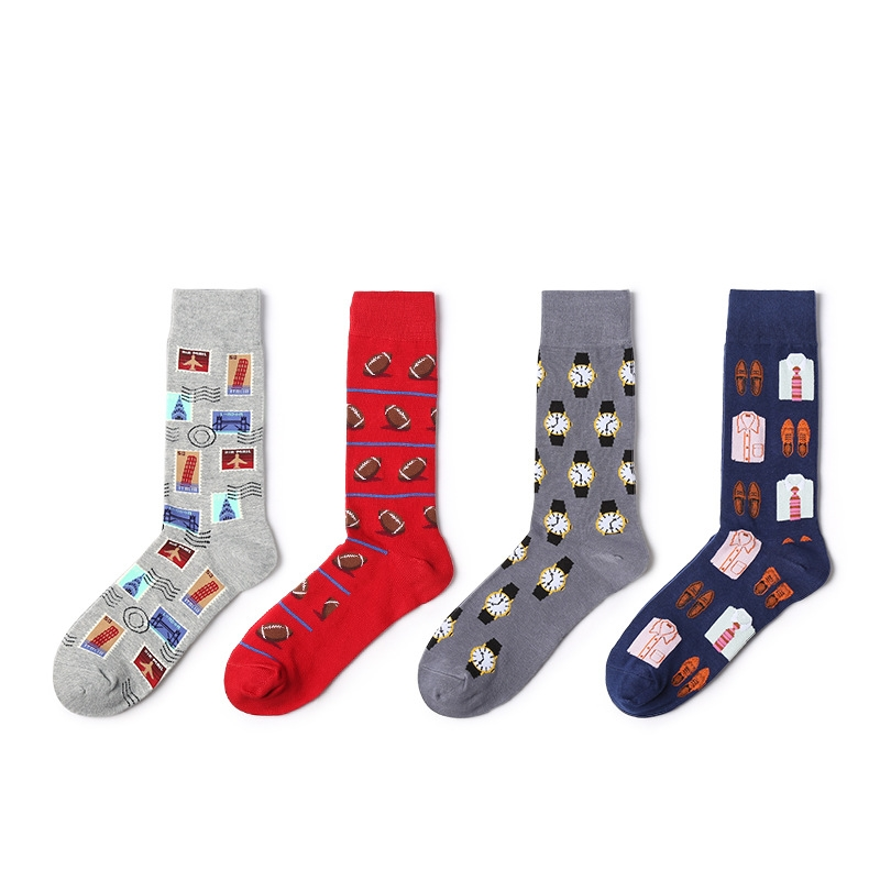 Men Socks Autumn New Arrival 1pair Men Fashion Casual Socks Color Print Long Men's Fashion Happy Cotton Breathable Socks