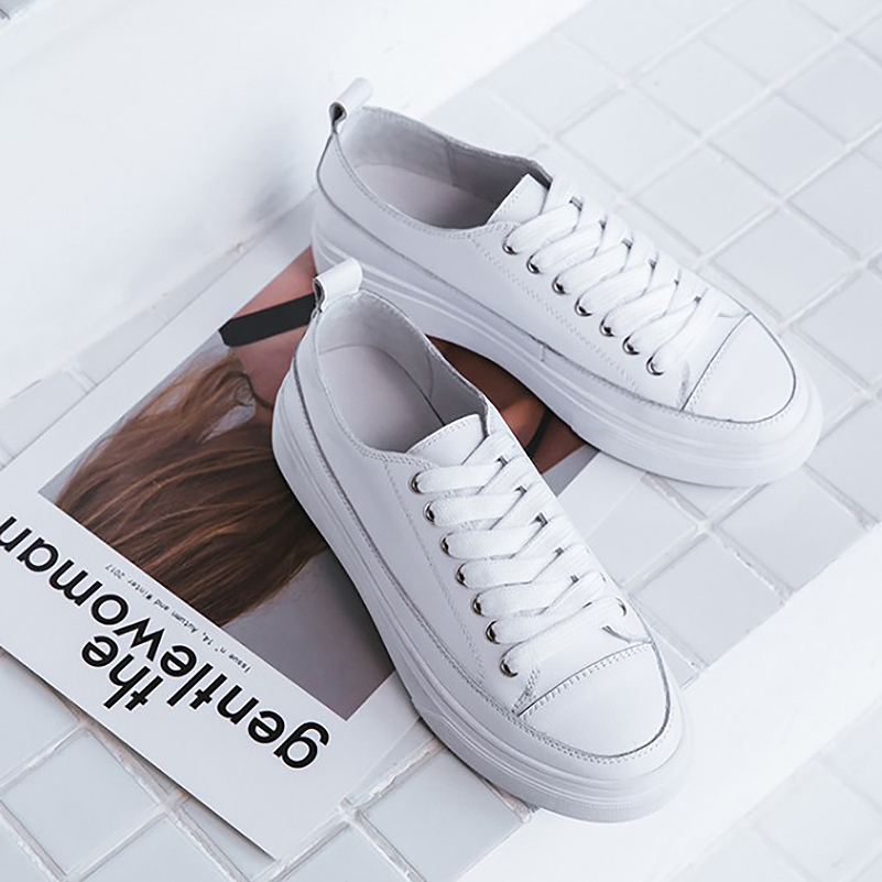 Meotina Platform Shoes Women Natural Genuine Leather Flat Casual Shoes Real Leather Lace Up White Sneakers Ladies Flats Spring