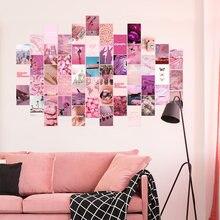 50 pçs cor-de-rosa estético imagem para parede colagem kits de impressão cor quente decoração do quarto para meninas arte da parede impressões para quarto dormitório cartaz