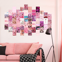 50Pcs Pink Aesthetic Picture for Wall Collage Print Kits Warm Color Room Decor for Girls Wall Art Prints for Room Dorm Poster