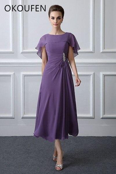 Mother Of The Bride Dresses With Wrap 2019 Chiffon Tea Length Short Women Kurti Wedding Party Vestido De Fiesta Noche Madrinha