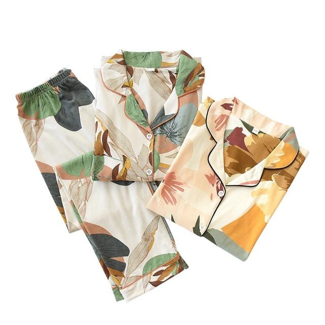 Women Long Sleeve Nightwear Autumn 100% Cotton Knitted Pajama Set Turn down Collar Leaves Printing Pajamas Loungewear Sleepwear