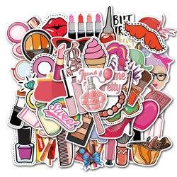 50 sztuk Cartoon Kawaii makijaż kosmetyki kosmetyki tematyczne naklejki dla pani dziewczyny Laptop bagaż rower gitara kask samochód DIY kij