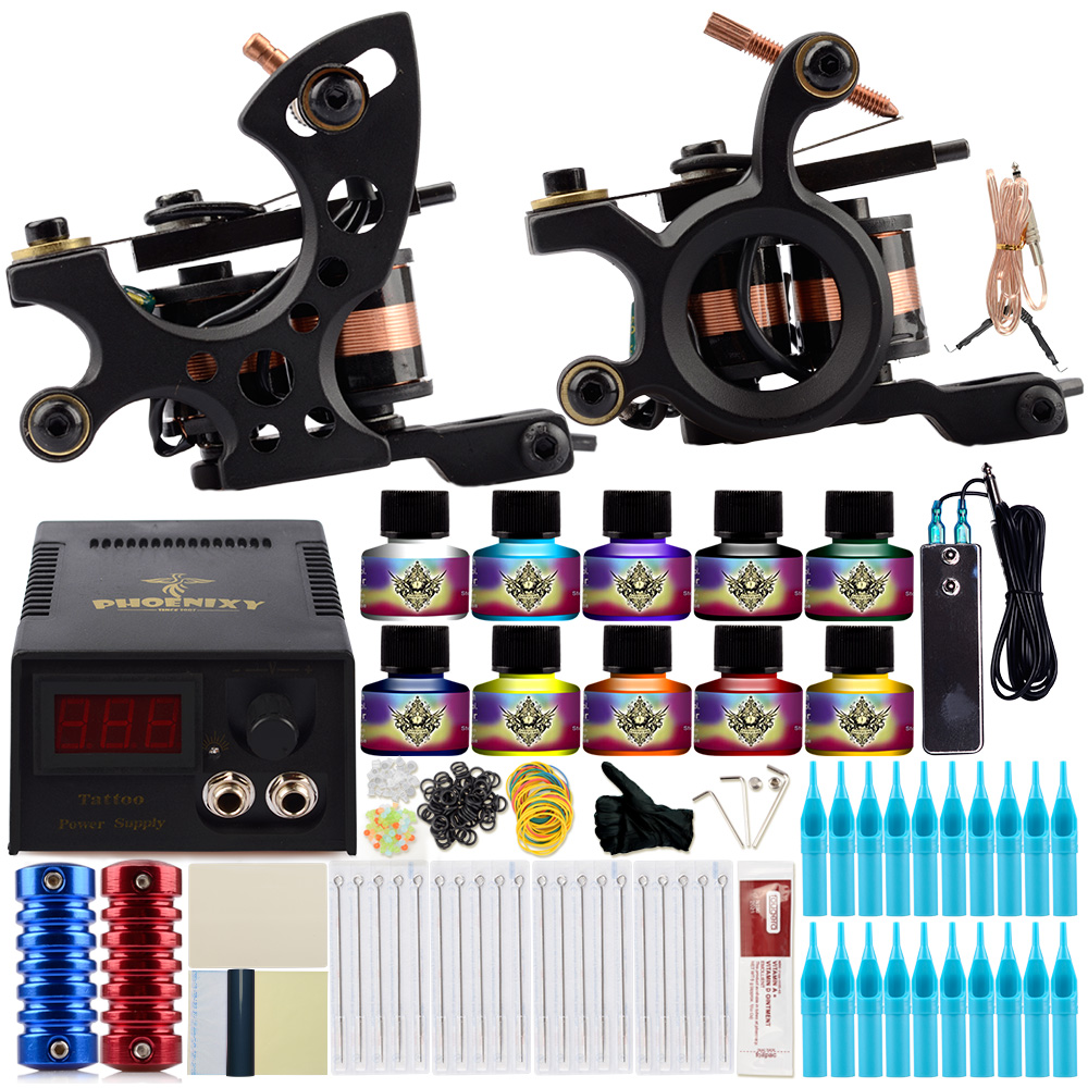 Complete Tattoo Machine Set Tattoo Kit 2 Coils Guns 10 Colors Inks Black Power Supply Needles Grip Permanent Makeup Tattoo Set