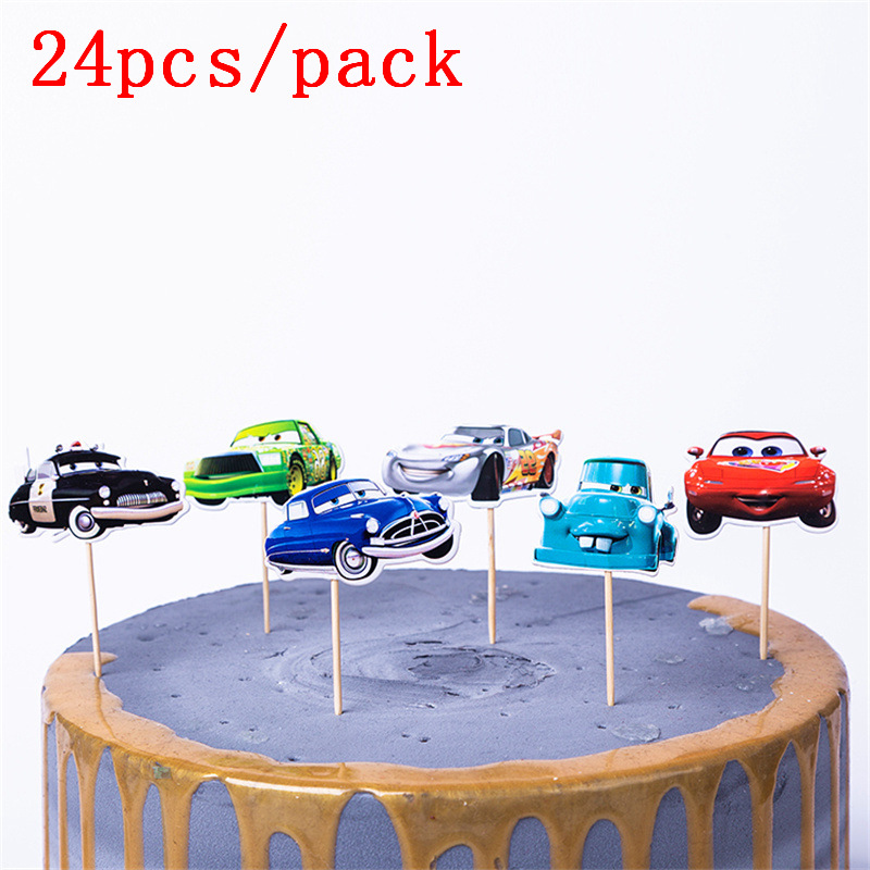 24pcs Disney Cars Cartoon Cake Topper Lightning Mcqueen Birthday Cake Topper Cars Happy Party Supplies Cars Cake Decorations