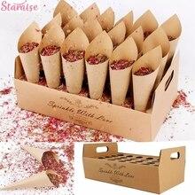 Staraise Kraft Paper Wedding Tray Confetti Cone Stand Box Tray For Wedding Decoration Wedding Confetti Cones Wedding Paper Cones
