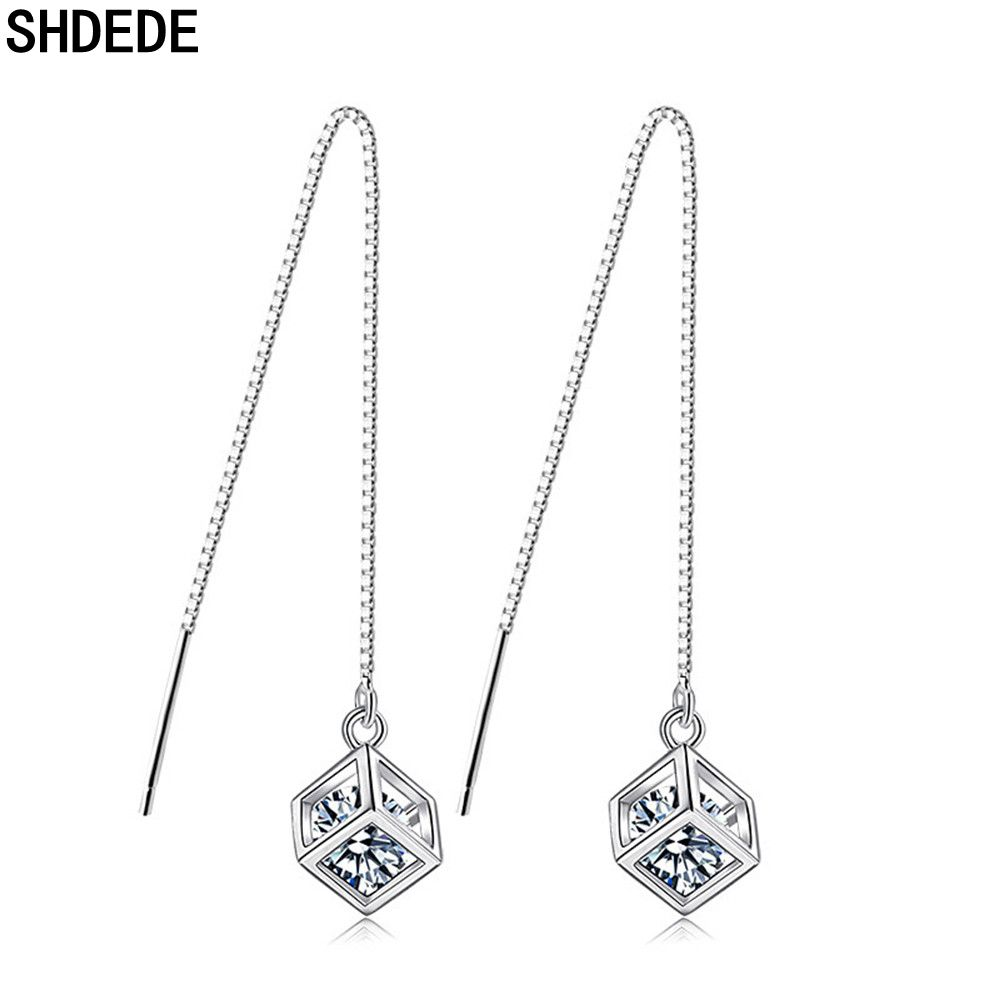 SHDEDE Long Chain Earing Jewellery Women 925 Silver Fashion Drop Earrings Embellished With Crystals From Swarovski Square -WH40