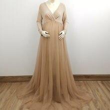 Платье для беременных с длинным рукавом Тюлевое платье макси