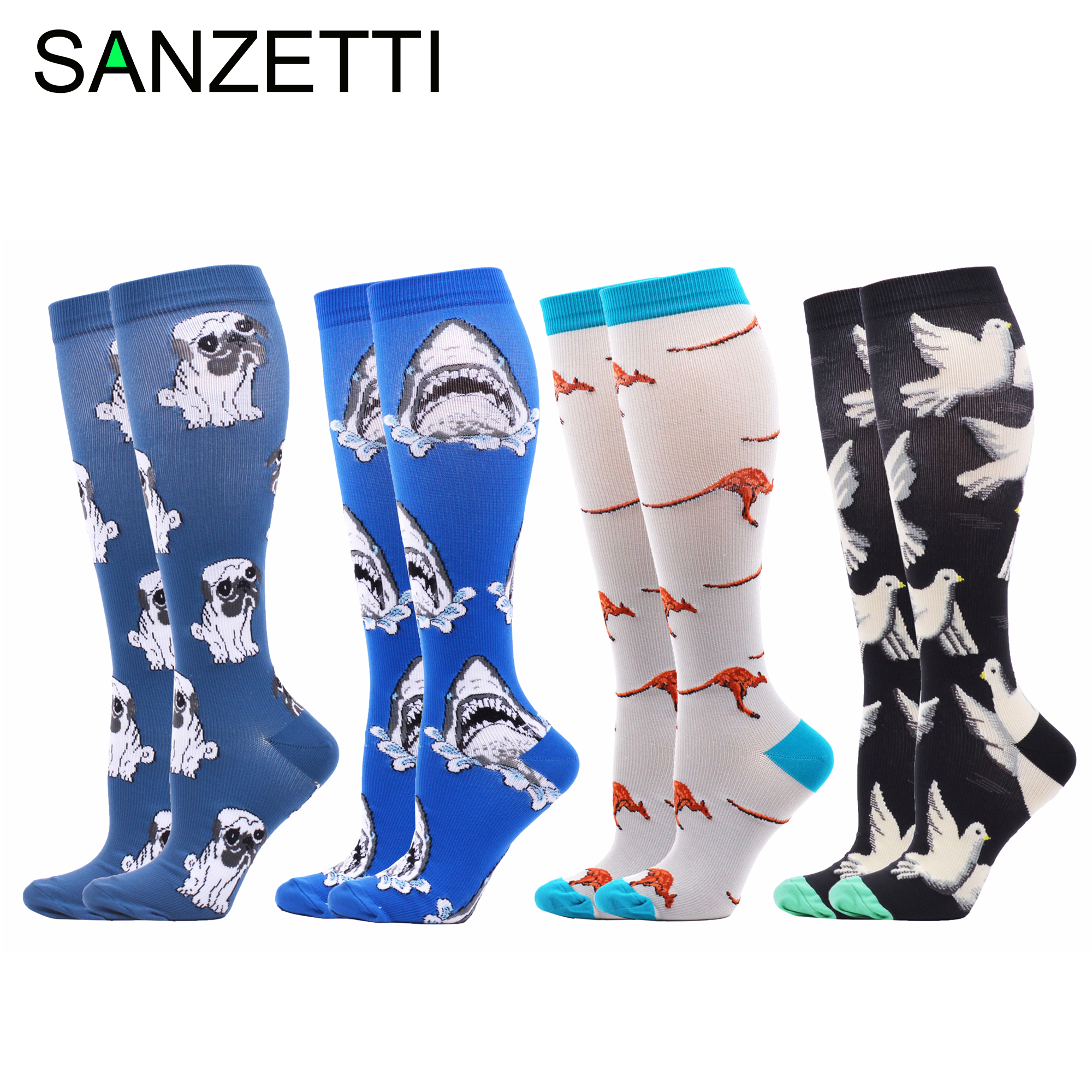 SANZETTI 4 Pairs Hot Women Dog Shark Animal Striped Combed Cotton Compression Socks Below Knee Anti-Fatigue Long Colorful Socks