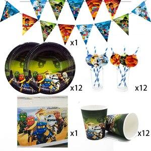 Image 1 - لوازم الحفلات 38 قطعة ل 12 الاطفال ninjaguing حفلة عيد ميلاد الديكور مجموعة أدوات المائدة لوحة كأس القش راية سماط توبر