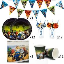 Feestartikelen 38Pcs Voor 12 Kinderen Ninjagoing Verjaardagsfeestje Decoratie Servies Set Plaat Cup Stro Banner Tafelkleed Topper