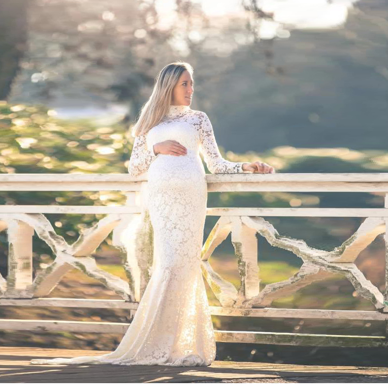 Baby Shower Lace Maternity Dresses For Photo Shoot Long Fancy Pregnancy Dress Elegence Pregnant Women Maxi Gown Photography Prop (3)
