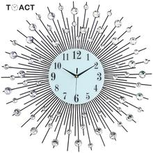 60cm 럭셔리 다이아몬드 벽시계 철 아트 금속 크리스탈 3D 대형 벽시계 빛나는 라운드 시계 다이아몬드 매달려 시계 홈 장식