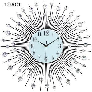 Image 1 - 60cm Luxury Diamond Wall Clock Iron Art Metal Crystal 3D Large Wall Clock Luminous Round Watch Diamond Hanging Clocks Home Decor