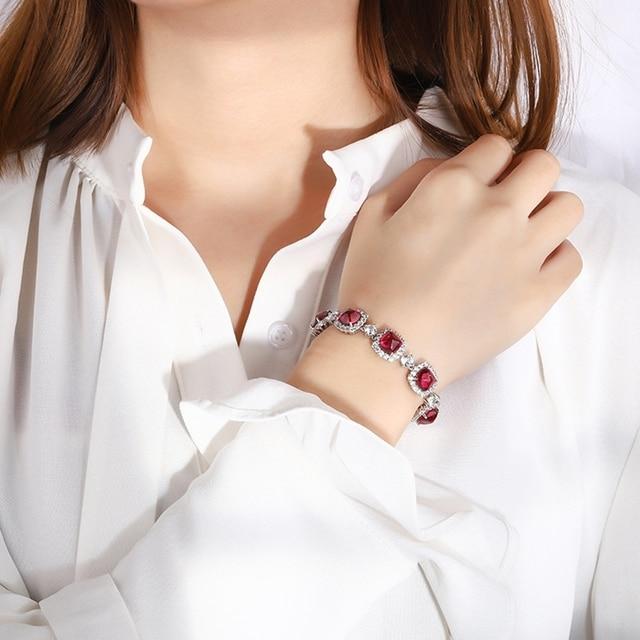 Shipei 100% 925 Sterling Silver Emerald Ruby Sapphire Created Moissanite Gemstone Fine Jewelry Bohemian Charm Bracelets Bangle 4