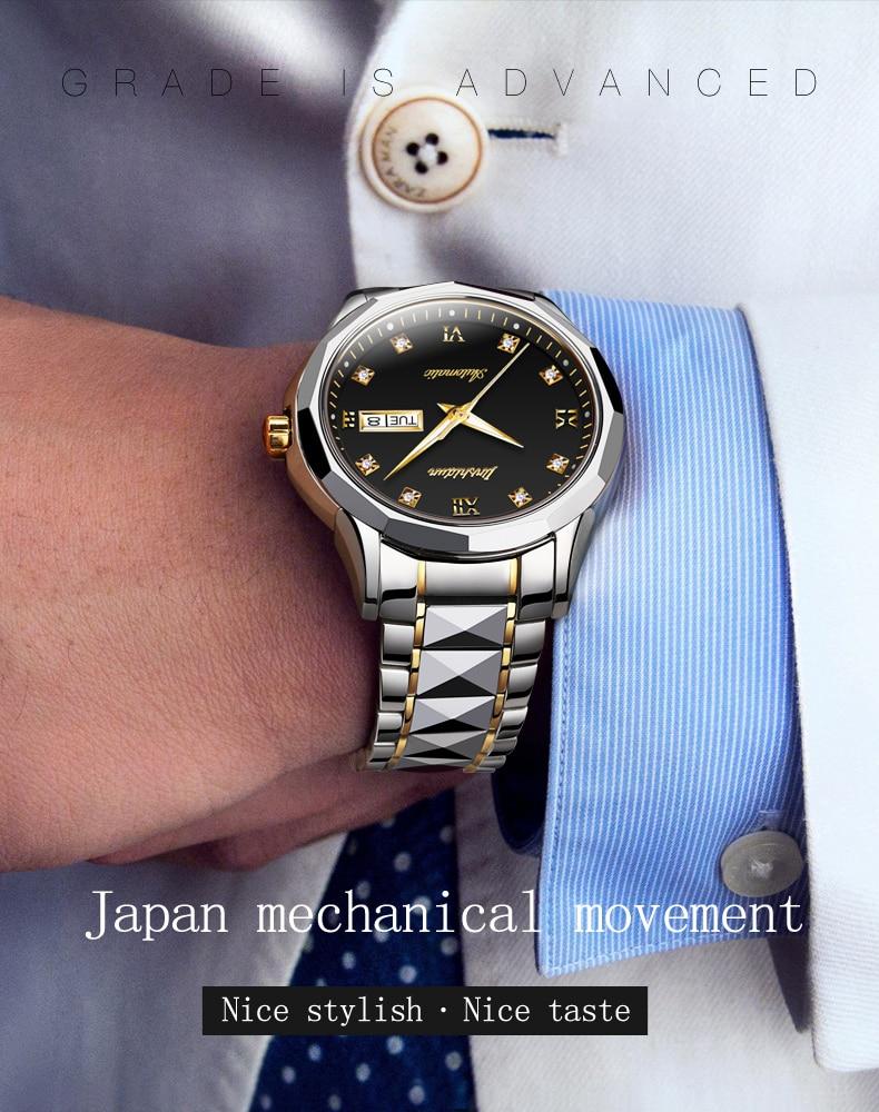 aço de tungstênio, impermeável, luminoso, japonês movimento de luxo 8767