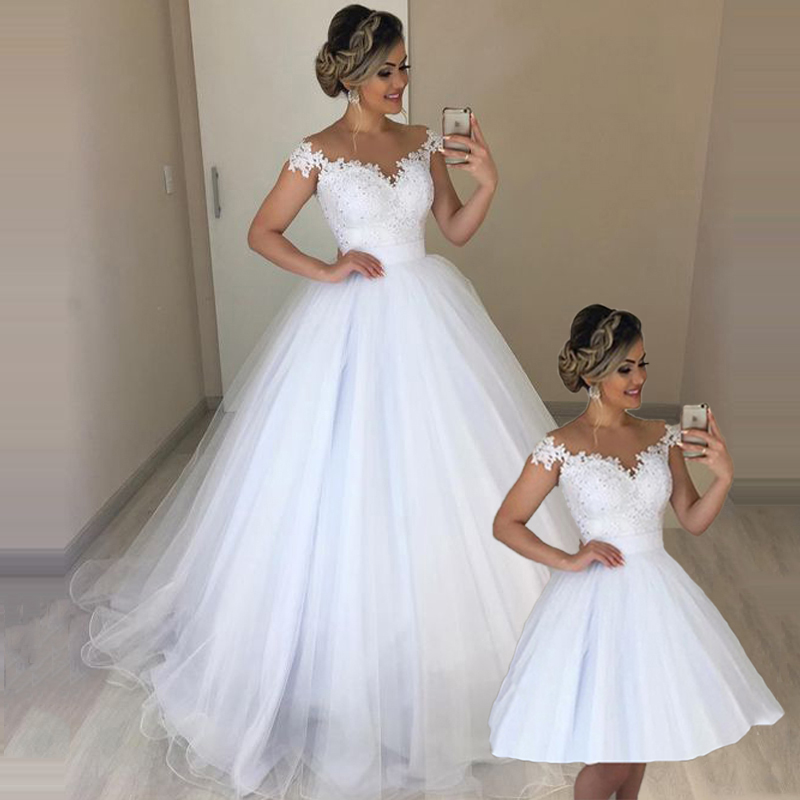 Booma Elegant Lace 2 In 1 Wedding Dress Soft Tulle Detachable Train Bride Dresses Robe De Mariee Wedding Party Dance Gown
