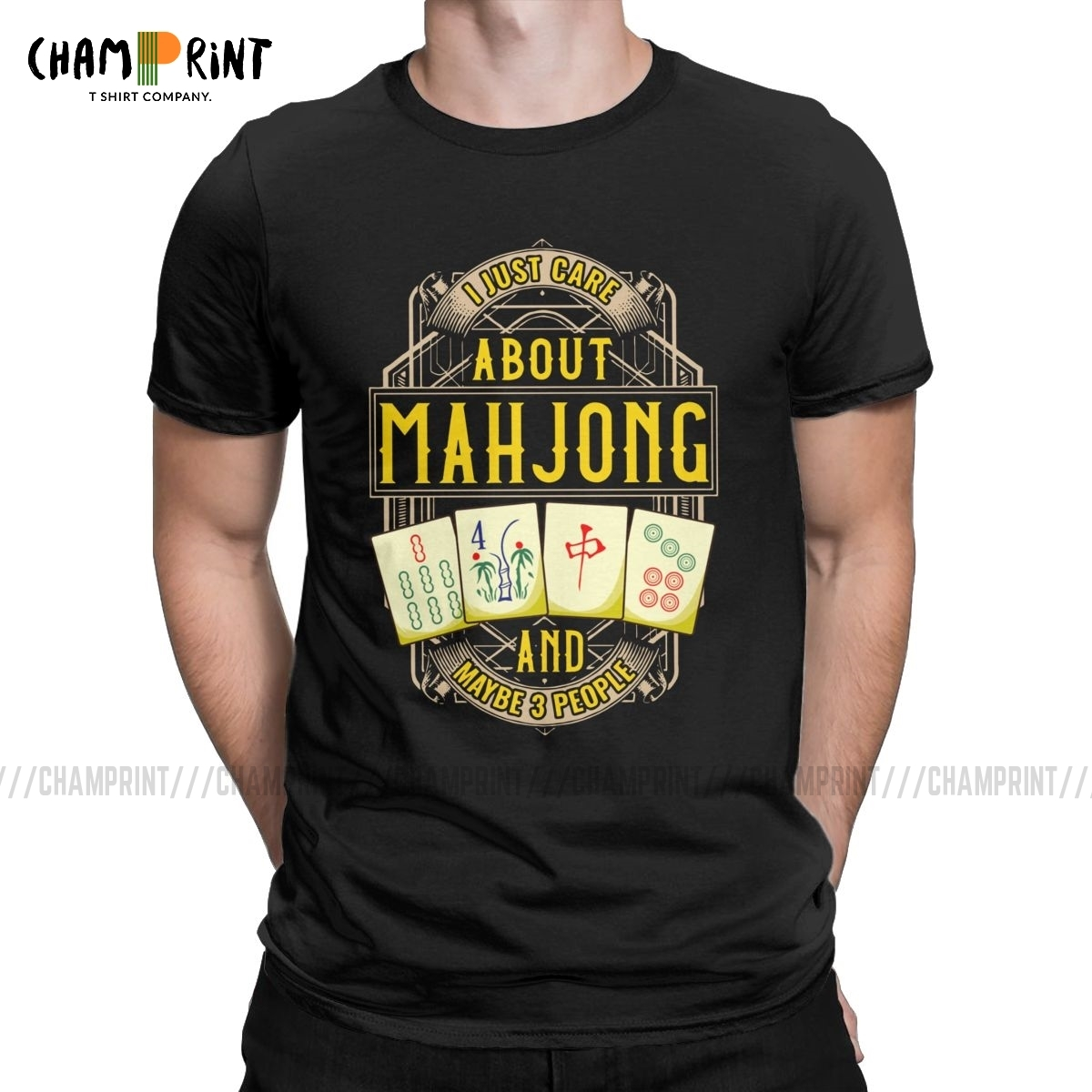 Men's Just Care About Mahjong T Shirt Chinese Culture And Entertainment Games Cotton Clothes Funny Tees Printed T-Shirts