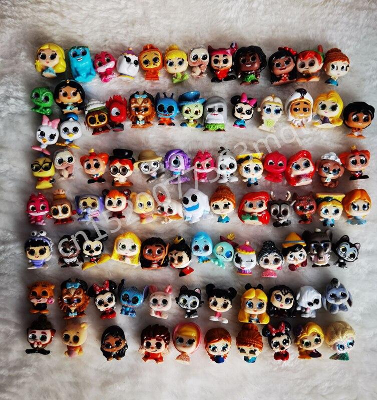 50 pçs diferentes disney doorables princesa bonecas série 1 & 2 monstros dos desenhos animados brinquedo mini tamanho raro coleção sem dups presente crianças
