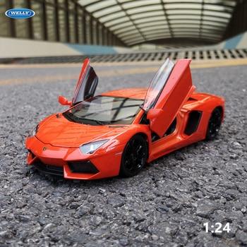 цена на WELLY 1:24 Lamborghini Aventador LP700-4  sports car simulation alloy car model crafts decoration collection toy tools gift