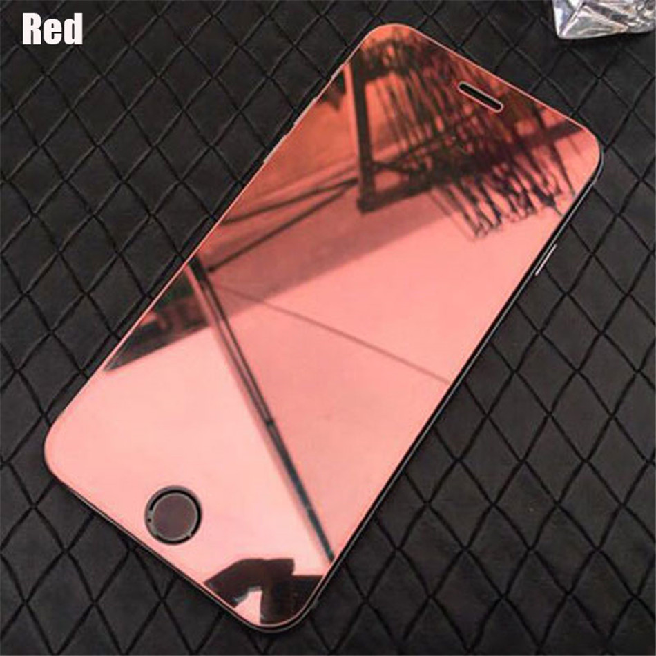 Colorful Mirror effect Tempered Glass Screen Protector for iPhone X XR XS Max 5S 5C SE 6 6S 7 8 Plus Full Cover Protective Film  (4)