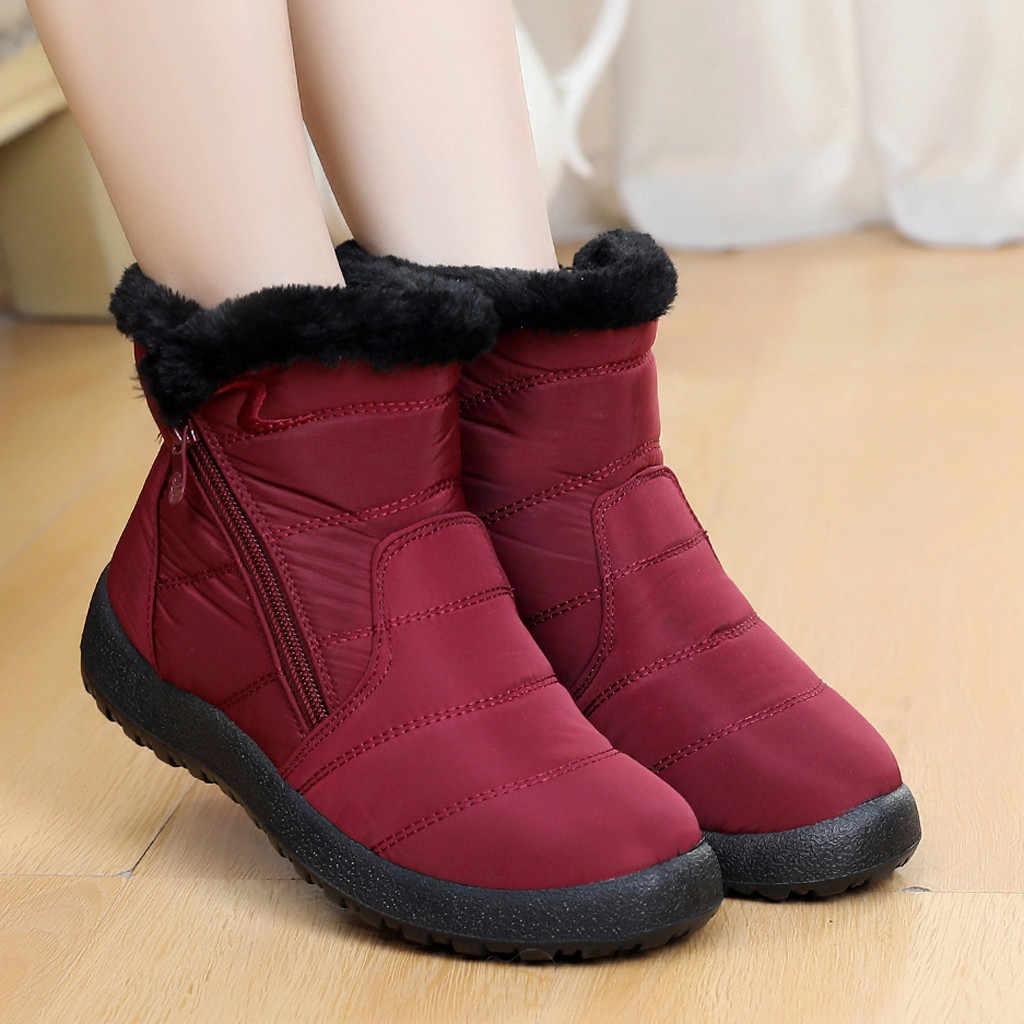 2019 г., ботинки женские зимние ботинки женская повседневная обувь, короткие ботильоны, водонепроницаемая обувь, бархатная Утепленная обувь
