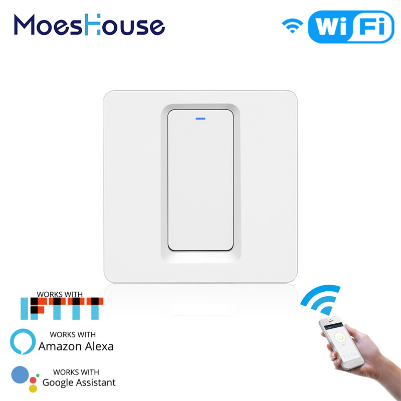 WiFi Smart Light Switch Push Button Smart Life/Tuya APP Remote Control Works With Alexa Echo Google Home For Voice Control